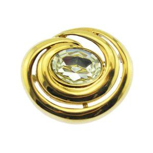 Large Gold Brooch with Large Rhinestone